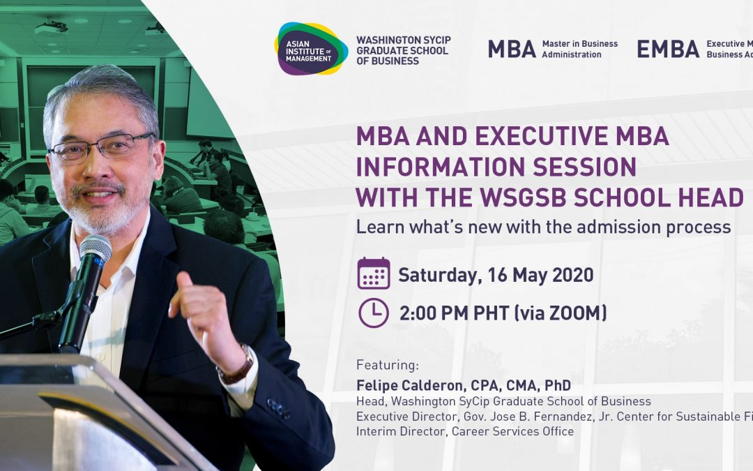 MBA and Executive MBA Information Session with the WSGSB School Head